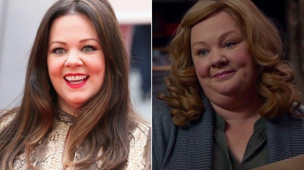 Delt bilde av Melissa McCarthy smilende stort på Spy premiere, og som Susan Cooper i Spy
