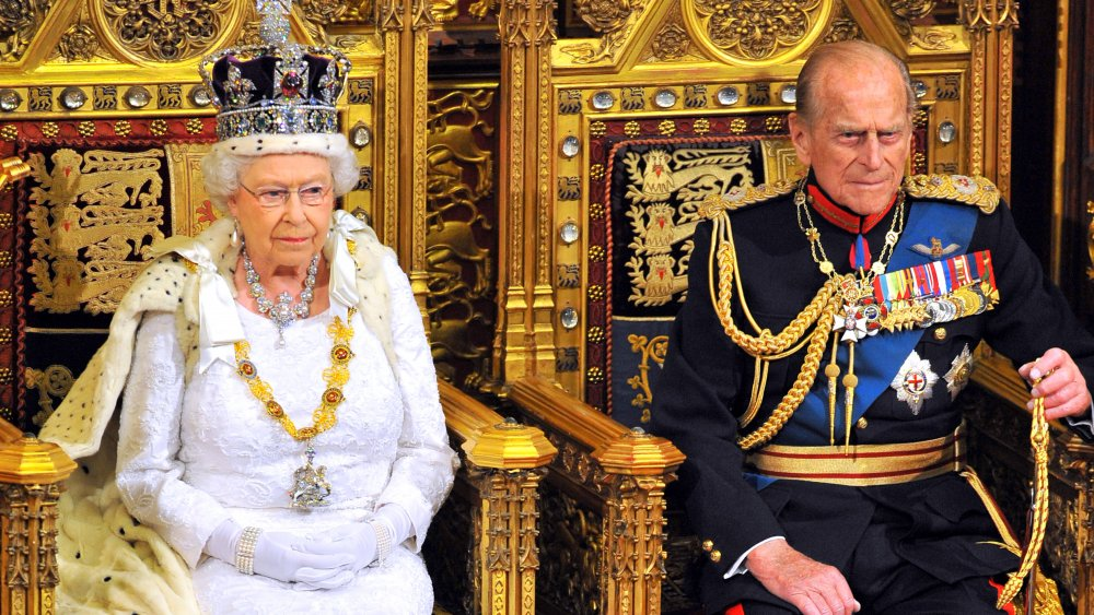 Prins Philip og dronning Elizabeth ved state åpning av parlamentet i House of Lords på Palace of Westminster i 2014