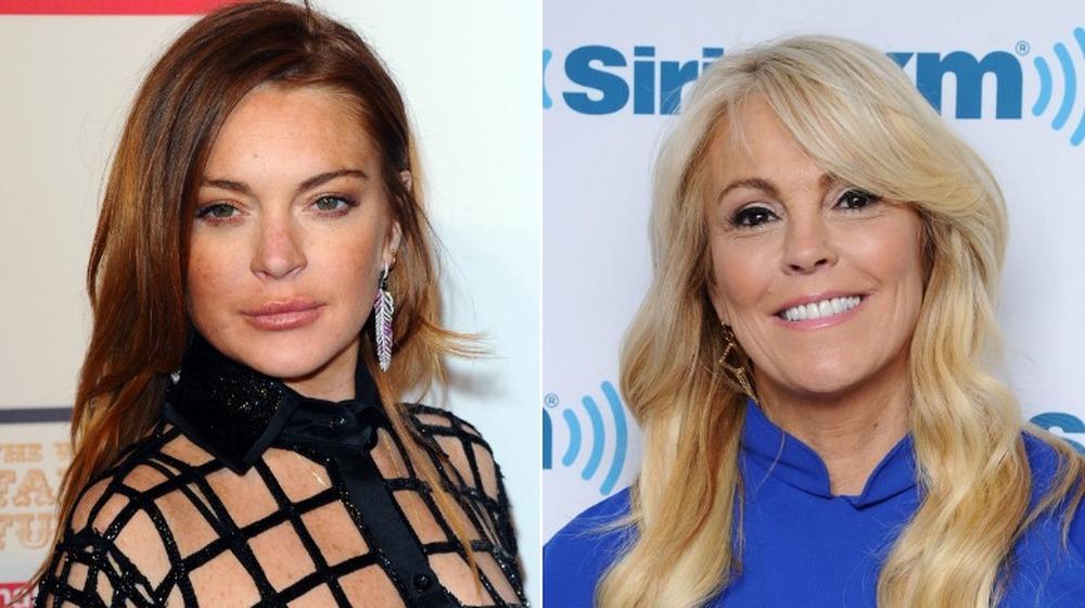 Lindsay Lohan stående (venstre bilde) / Dina Lohan smiler foran (høyre bilde)