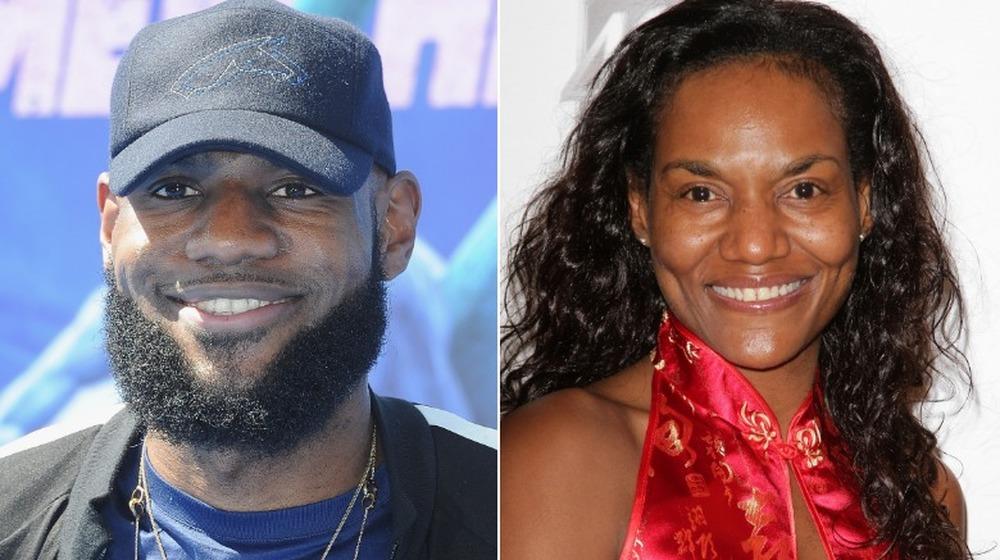 LeBron James (venstre bilde) ser fremover / Gloria James smiler (høyre bilde)