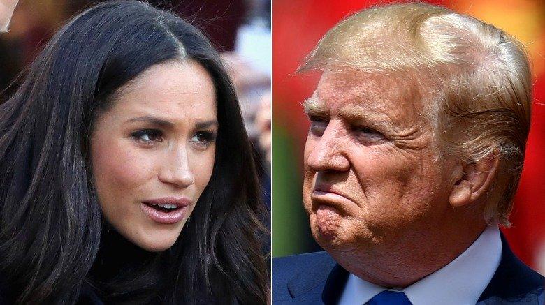 Meghan Markle på et arrangement og Donald Trump under sitt statsbesøk i Storbritannia