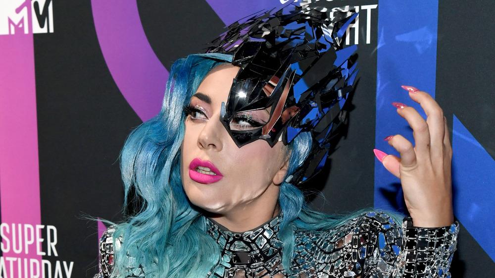 Lady Gaga med blått hår