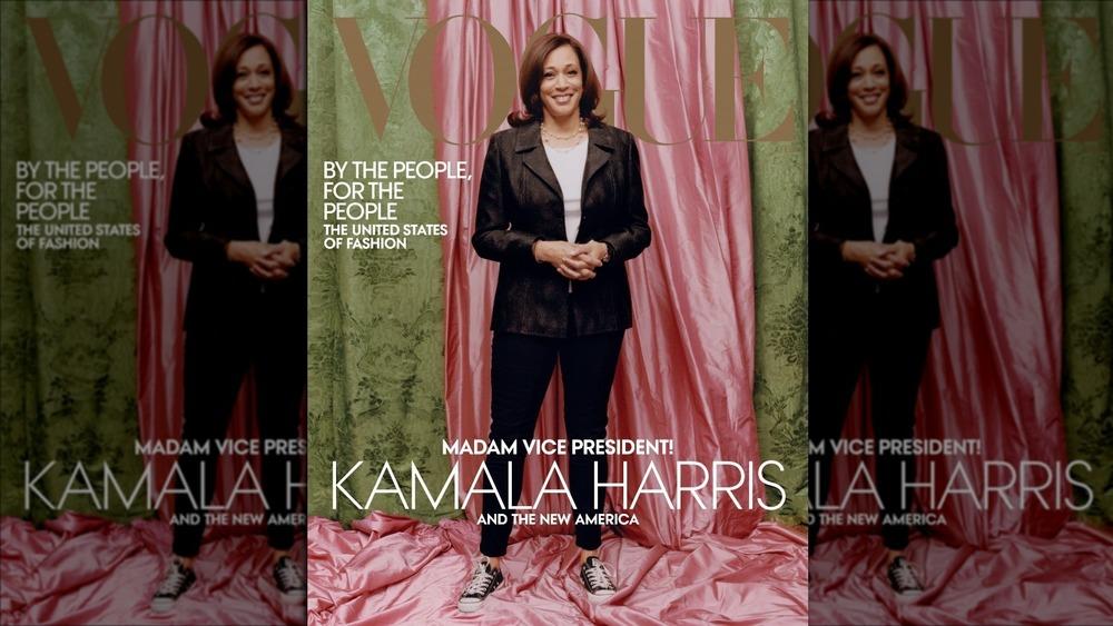 Utvalgt visepresident Kamala Harris på forsiden av Vogue i februar