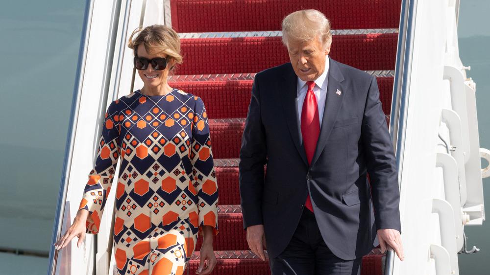 Melania og Donald Trump ankommer Florida