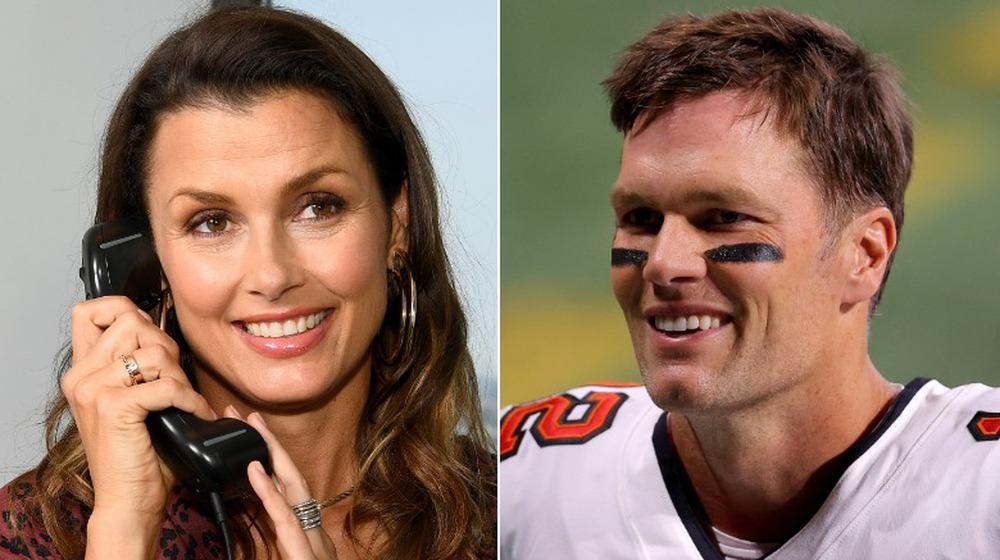 Bridget Moynahan smiler på telefonen, Tom Brady smiler