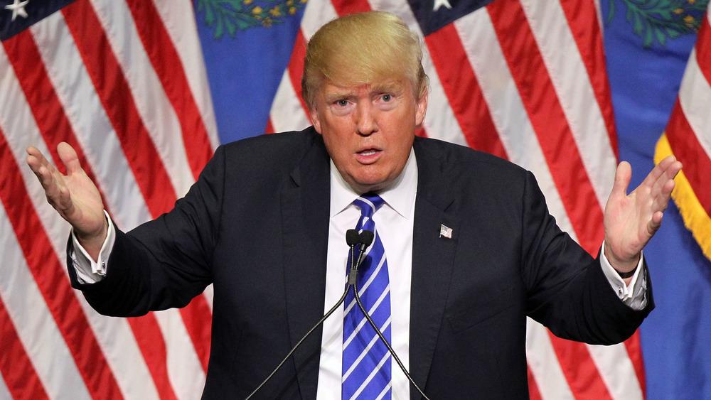 Donald Trump snakker med hevede hender