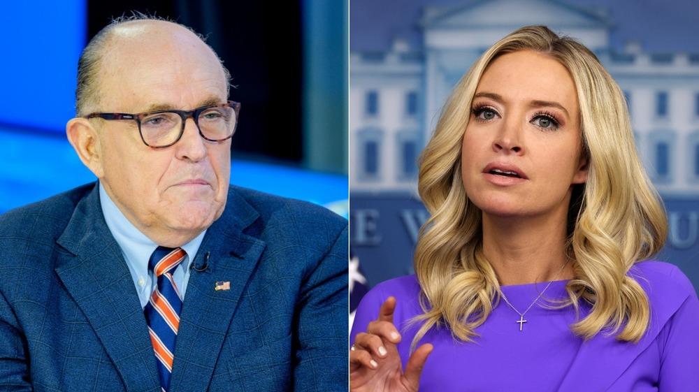 Delt bilde av Rudy Giuliani og Kayleigh McEnany ser begge seriøse ut
