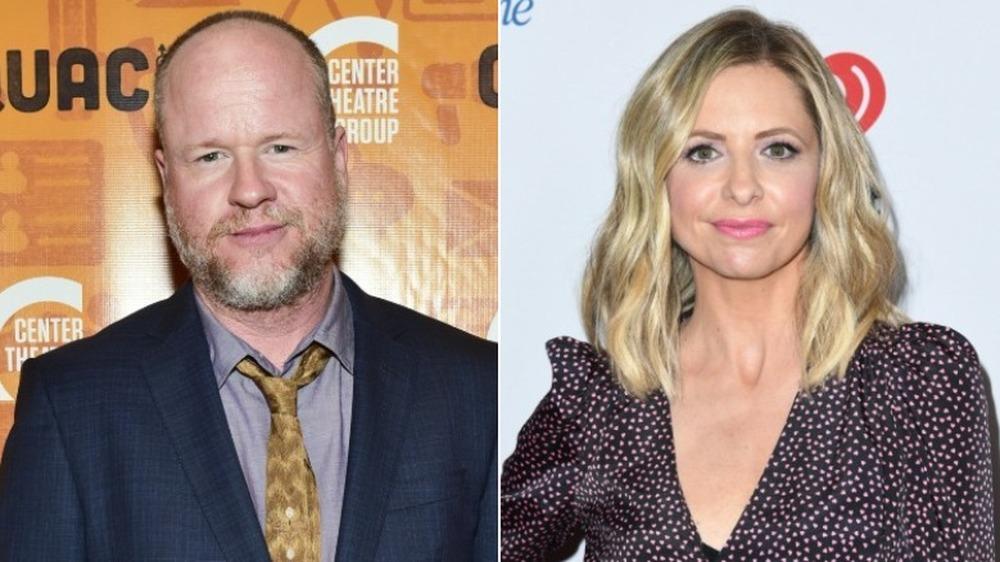 Joss Whedon og Sarah Michelle Gellar gliser
