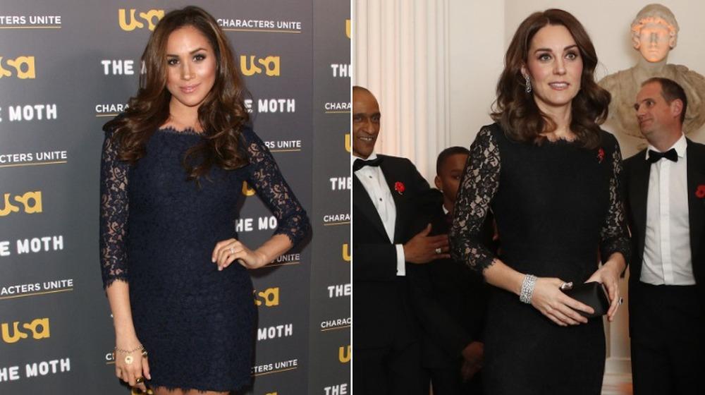 Meghan Markle (til venstre) og Kate Middleton i matchende kjoler