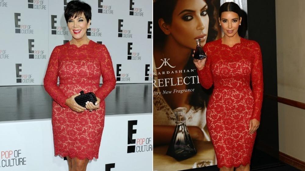 Kris Jenner (til venstre) og Kim Kardashian (i samme kjole