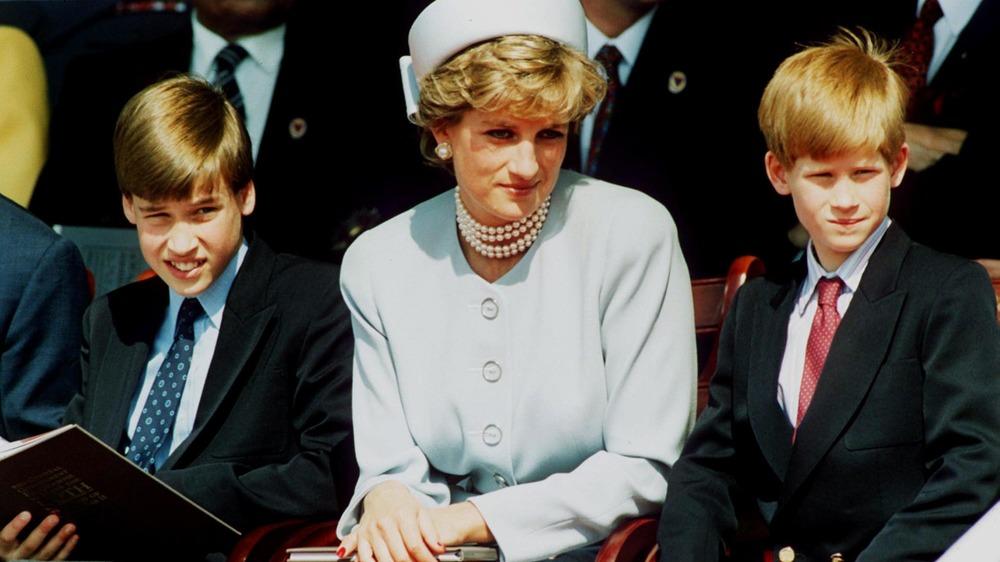 Prinsesse Diana sitter med Harry og William