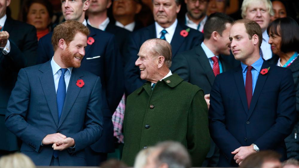 Prins Harry og prins Philip ler sammen med prins William