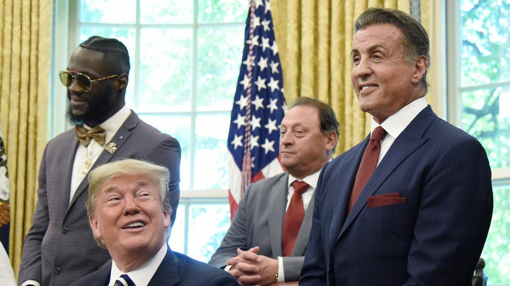 Sylvester Stallone Donald Trump smilende