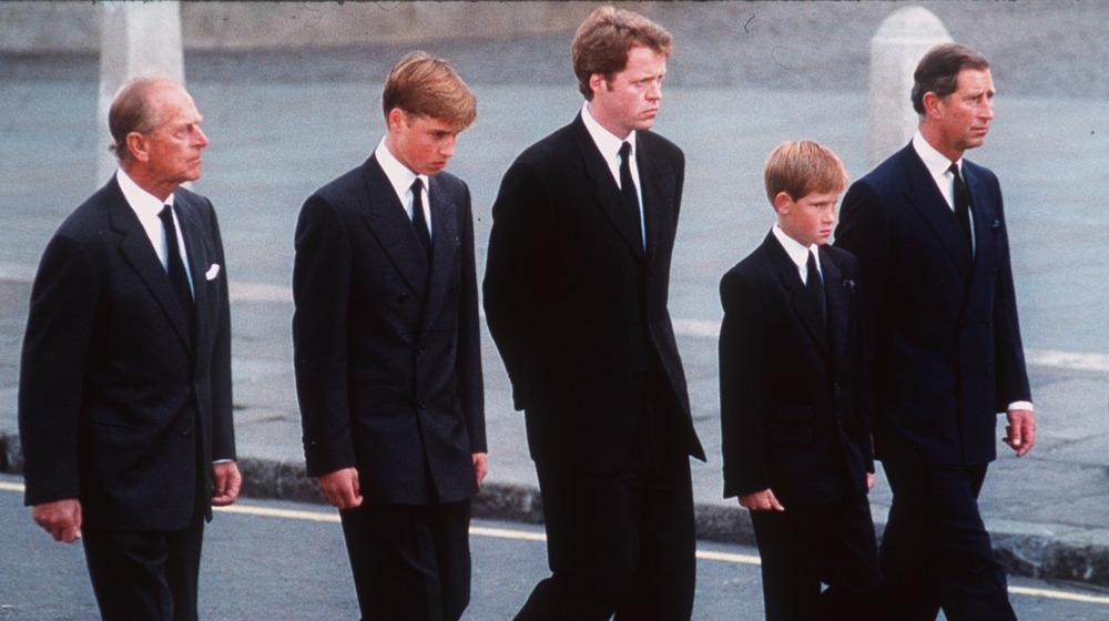 Prinsene Philip, William, Harry og Charles, med jarlen av Spencer