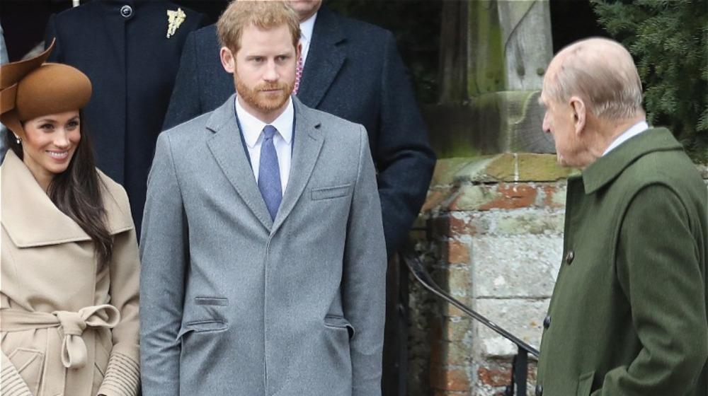 Meghan Markle, prins Harry og prins Philip, som alle står sammen