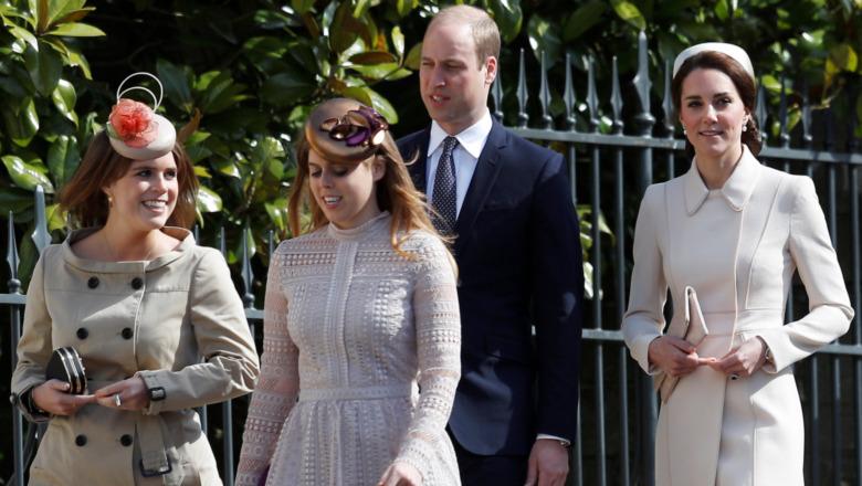 Prinsesser Eugenie, Beatrice, prins William og Kate Middleton går