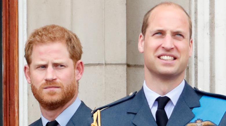 Prins Harry ser seriøs ut og prins William smiler