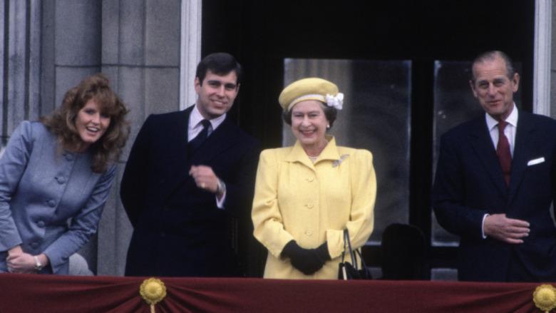 Sarah Ferguson, prins Andrew, dronning Elizabeth og prins Philip