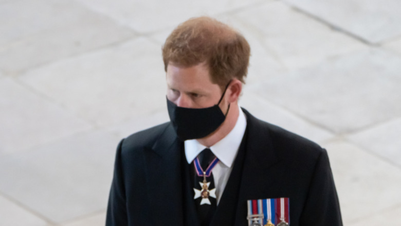 Prins Harry ved begravelsen til bestefar prins Philip 17. april 2021