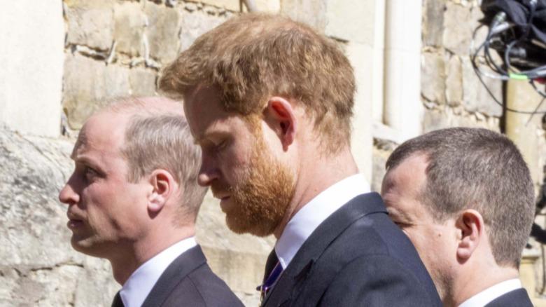 Prins William og prins Harry ved begravelsen til prins Philip