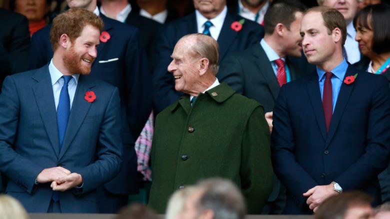 Prins Harry og prins Philip og prins William