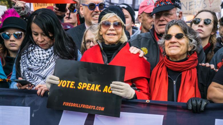 Jane Fonda protesterte