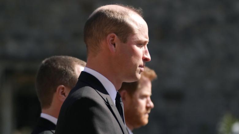 Prins William og prins Harry står ved prins Philips begravelse