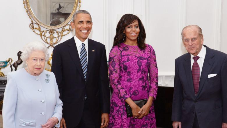 Dronning Elizabeth II, Barack Obama, Michelle Obama og prins Philip sammen