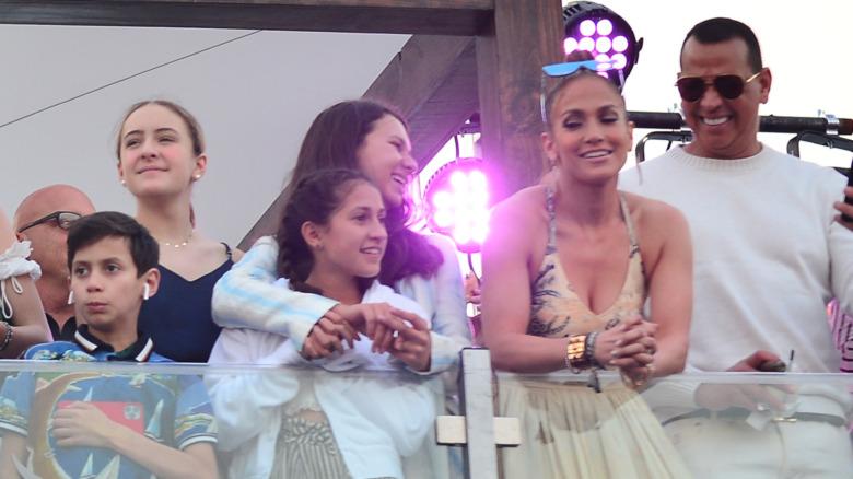 Jennifer Lopez og Alex Rodriguez med barna sine