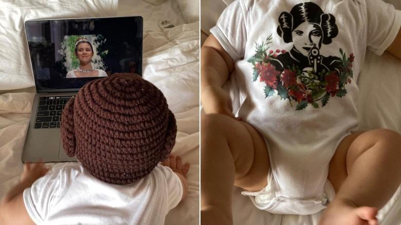 Billie Lourds sønn i Star Wars onesie og ser film