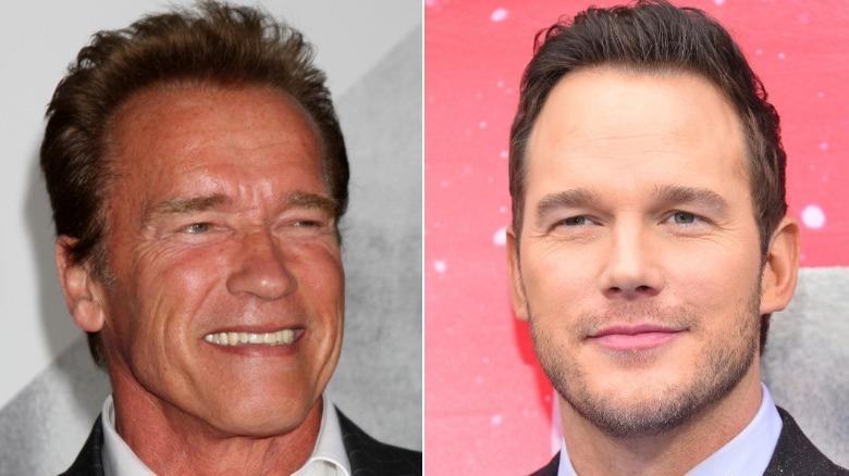 Arnold Schwarzenegger og Chris Pratt på arrangementer