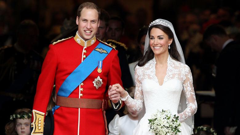 Prins William og Kate Middle på bryllupsdagen