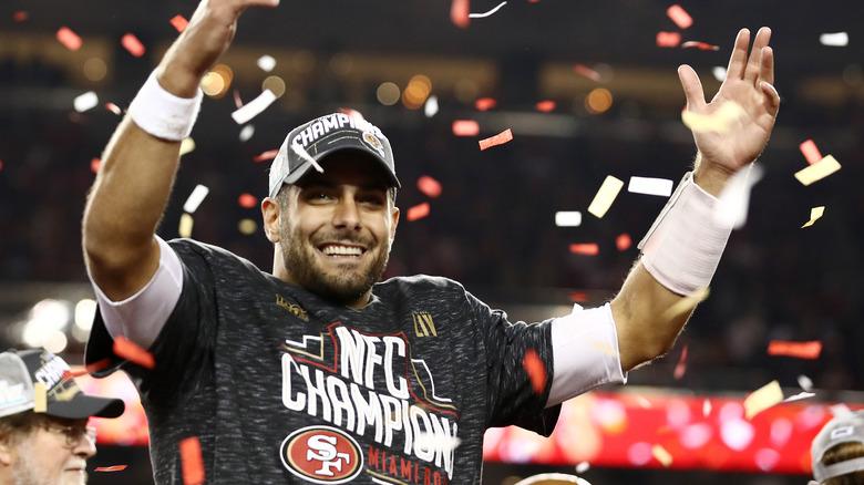 Jimmy Garoppolo feirer NFC Championship-seieren
