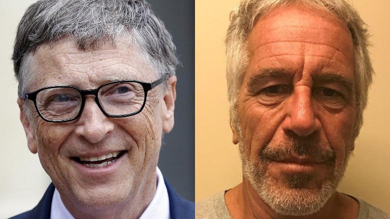 Bill Gates smilende (til venstre), Jeffrey Epstein mugshot (høyre)