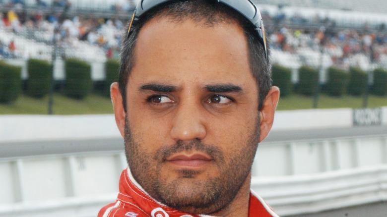 Juan Pablo Montoya reagerer etter å ha avsluttet et løp