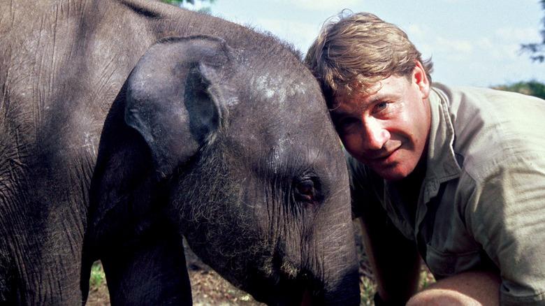 Steve Irwin med en elefant