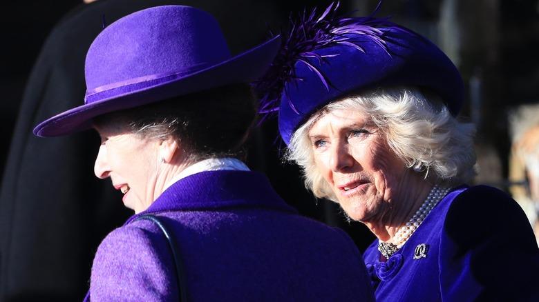 Prinsesse Anne og Camilla Parker Bowles i lilla og blå antrekk.
