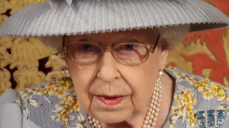 Dronning Elizabeth II under statsåpning av parlamentet 2021