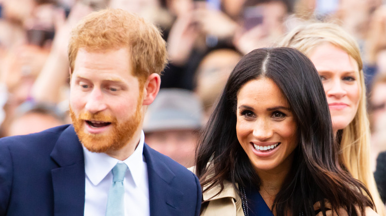Prins Harry og Meghan Markle smilte på et offentlig arrangement i Australia
