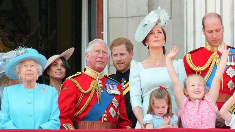 kongelige familiemedlemmer på Trooping the Color-feiringen