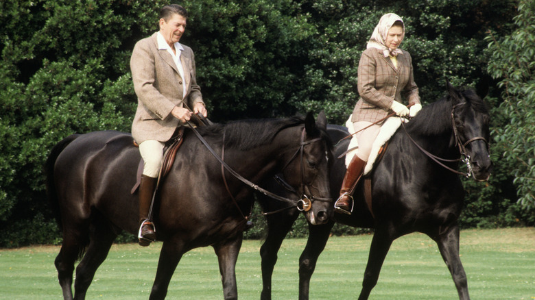 Ronald Reagan, dronning Elizabeth, ridende hester