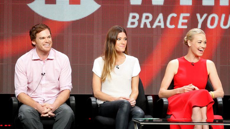 Michael C. Hall, Jennifer Carpenter og Yvonne Strahovski snakket på et arrangement
