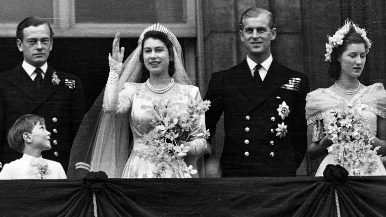Dronning Elizabeth i bryllupet sitt
