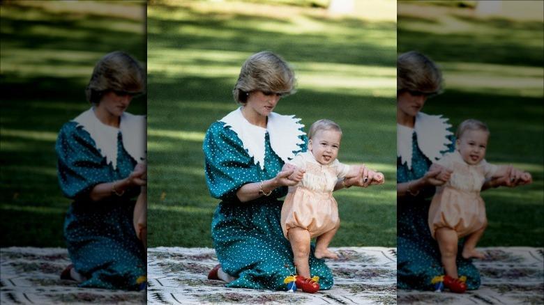 Prinsesse Diana med prins William som baby i New Zealand