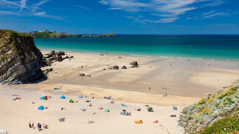 Lusty Glaze Beach i Cornwall, Storbritannia