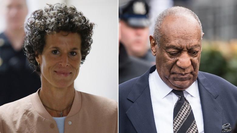 Andrea Constand smiler, Bill Cosby ser ned