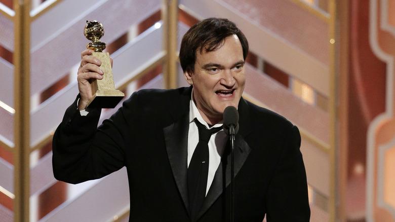 Quentin Tarantino på scenen på Golden Globes