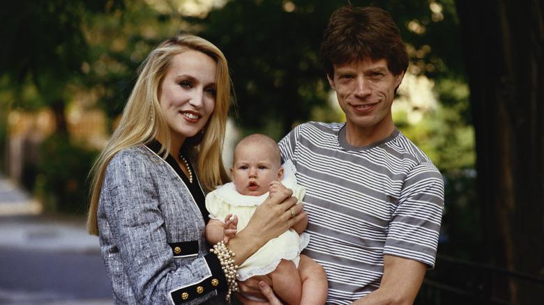 Mick Jagger, Jerry Hall og et av barna deres