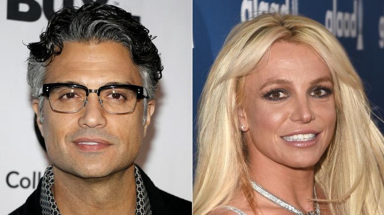 Jaime Camil poserer og Britney Spears smiler