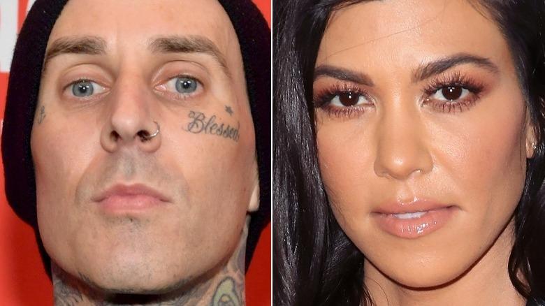 Travis Barker stirrer;  Kourtney Kardashian smilende